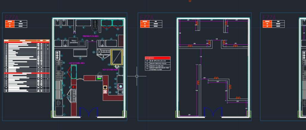 تصميم و توزيع معدات المطبخ لمطعم