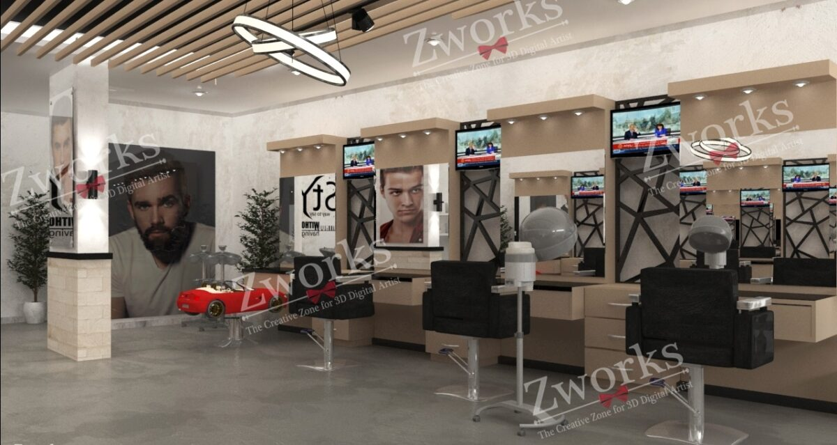 Barber Shop 3D Model (Copy)
