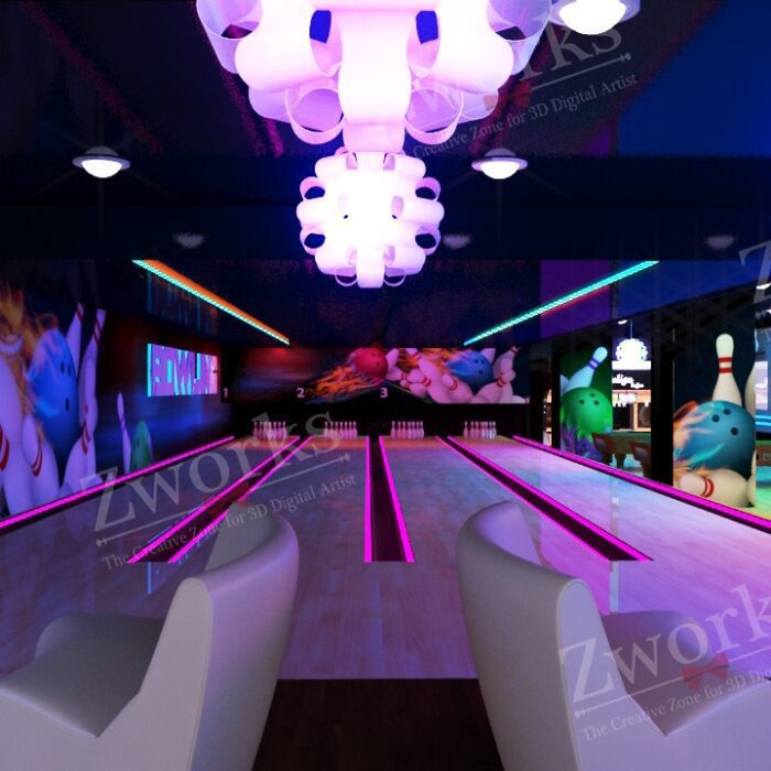 Bowling Interior Design 3D Model