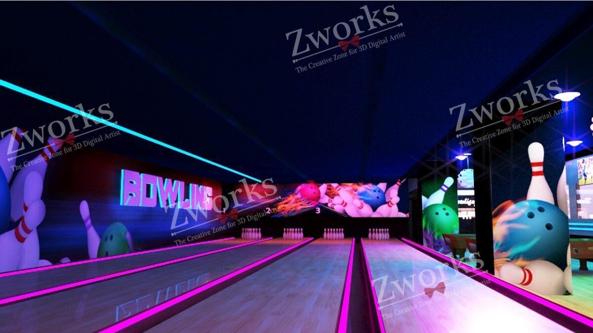 Bowling Interior Design 3D Model (Copy)