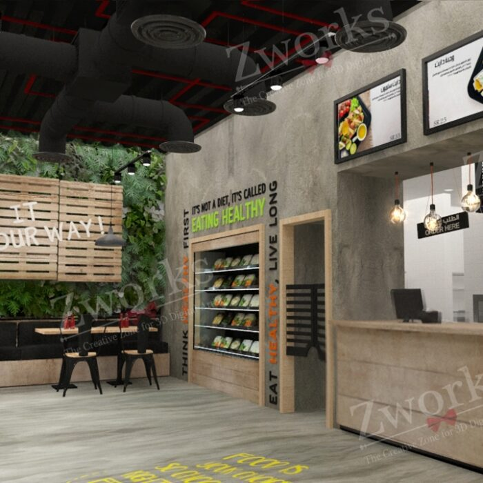 Healthy Food Restaurant 3D Model