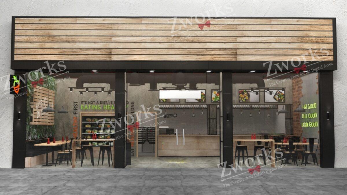 Healthy Food Restaurant 3D Model (Copy)