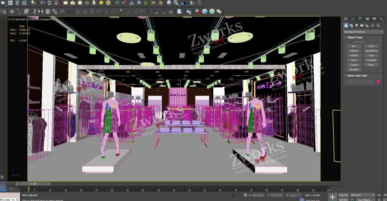 Supermarket Interior Design 3D Model