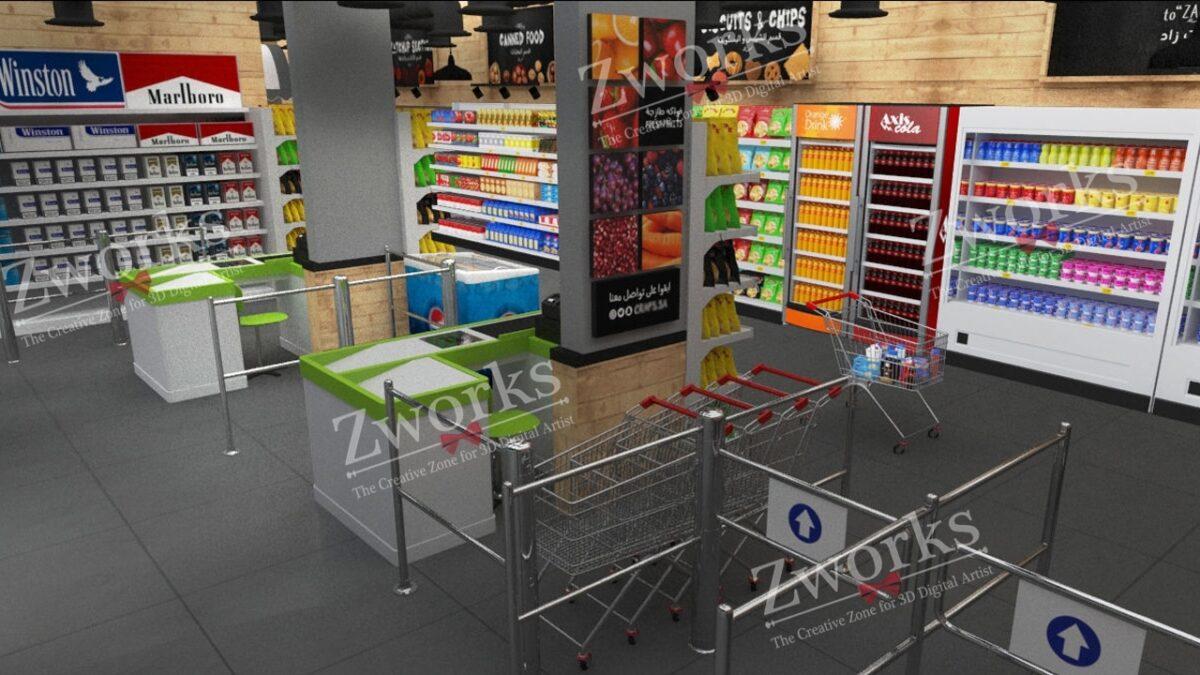 Supermarket Interior Design 3D Model (Copy)