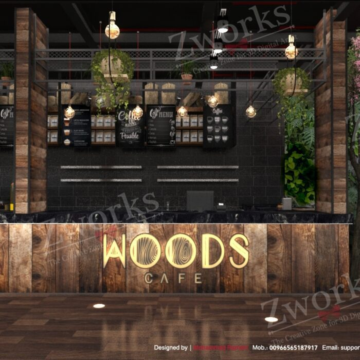 Coffee Lounge Interior Design 3D Model
