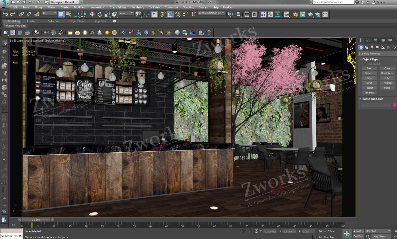 Coffee Lounge Interior Design 3D Model (Copy)